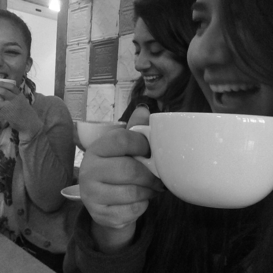 Friends and I talking about life over a cup of coffee.