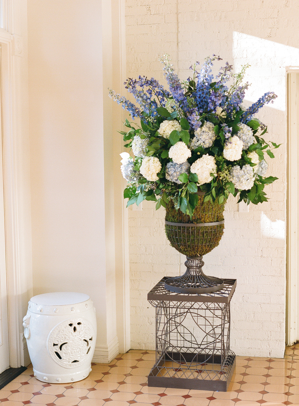 Large blue and white hydrangea arrangement