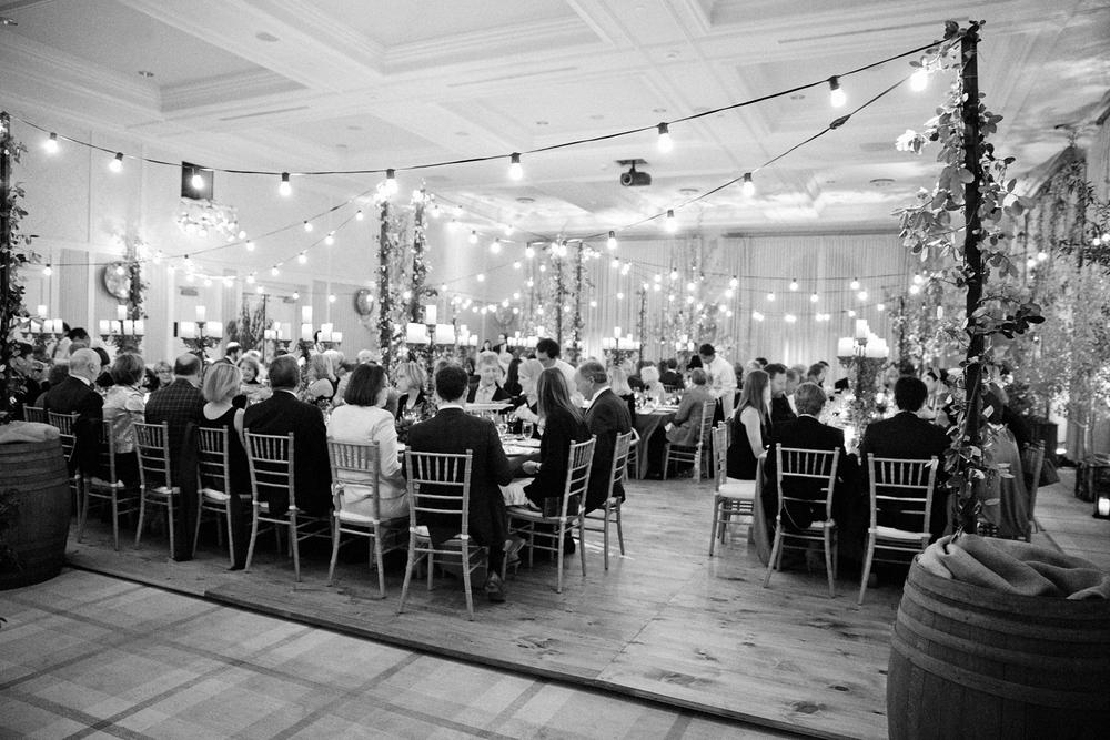 Rehearsal dinner inside Hotel Jerome ballroom