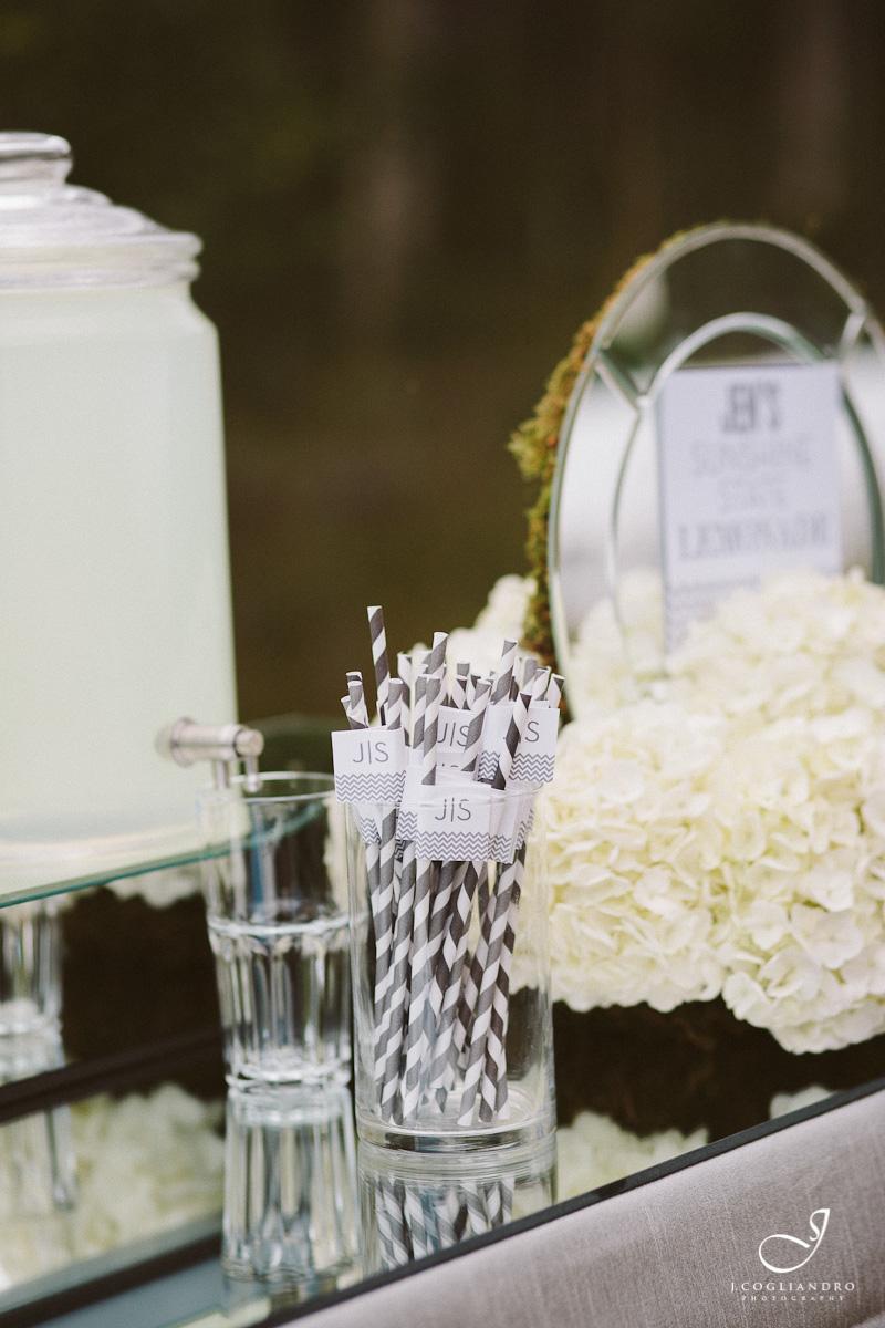 Mirror Bar with White Hydrangea Flower Arrangement