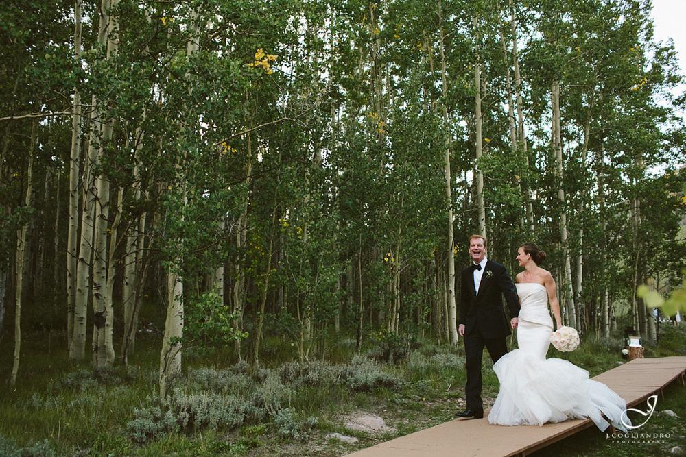 Bride & Groom Walking Through Aspen Trees