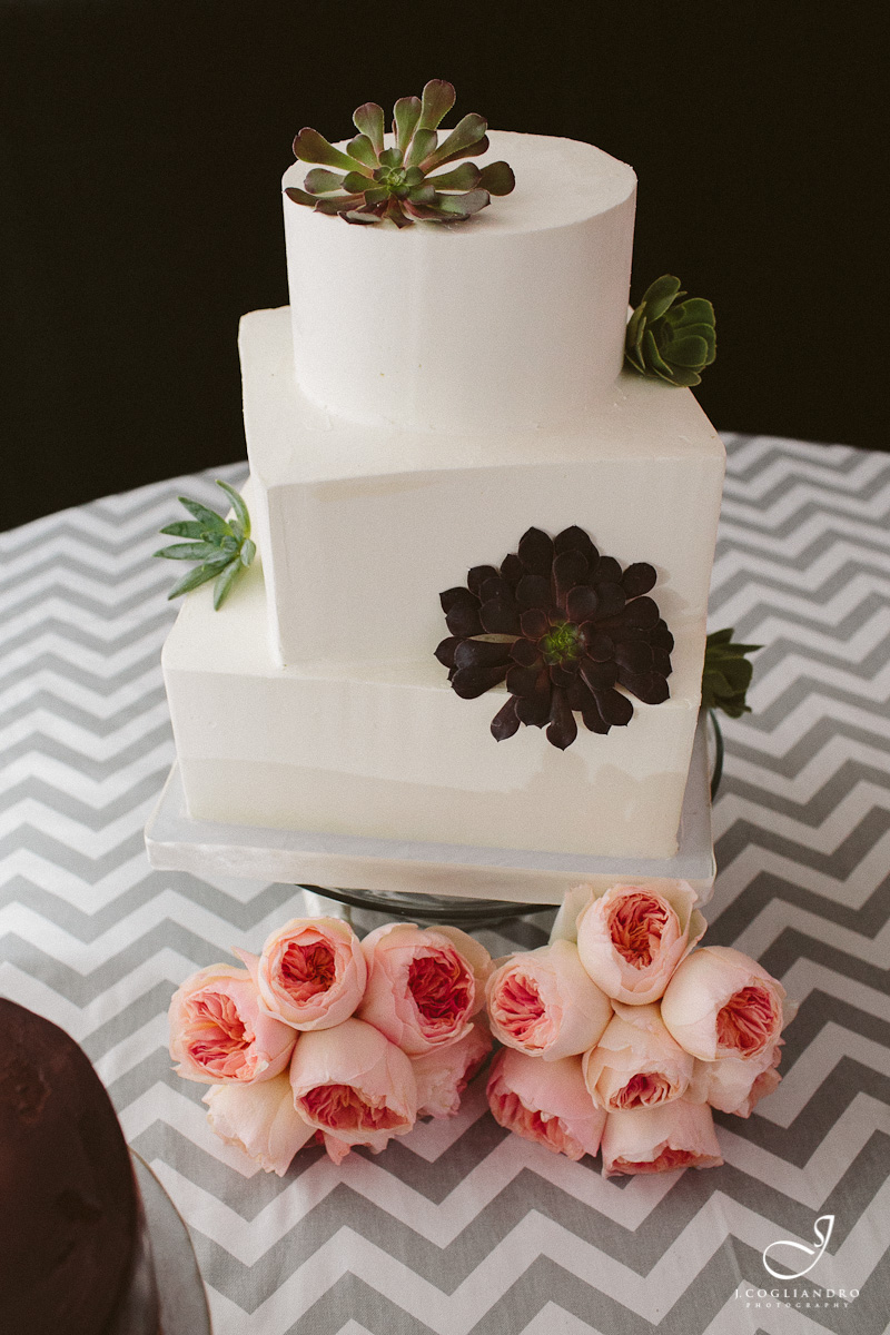 White Wedding Cake with Succulents