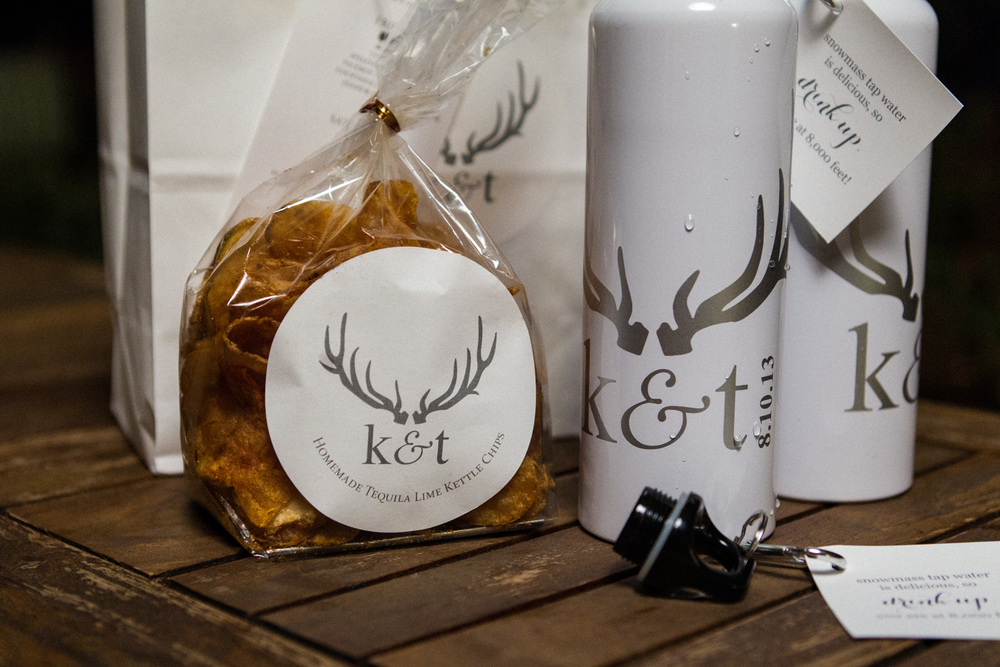 Monogrammed Wedding Welcome Snacks & Waterbottle
