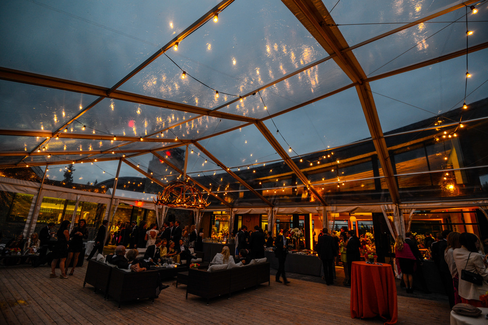 Clear Tented Wedding Reception at Night