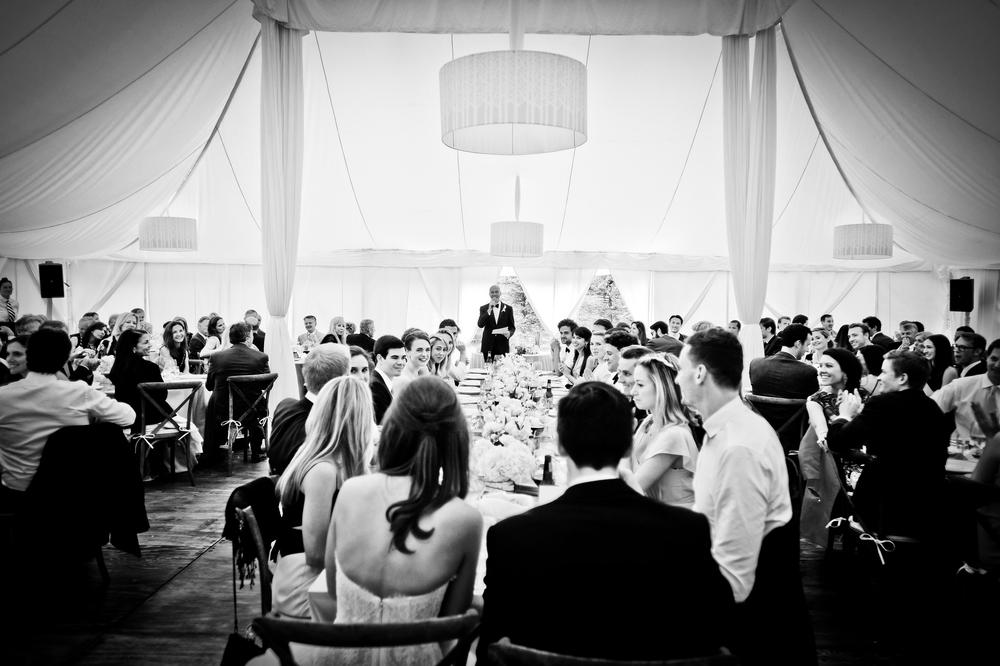 Inside of Tented Wedding Dinner Reception