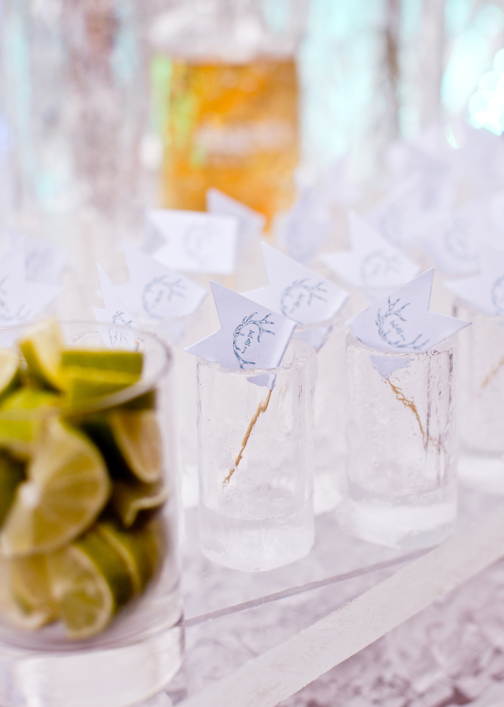Ice shot glasses with monogrammed toothpick flags