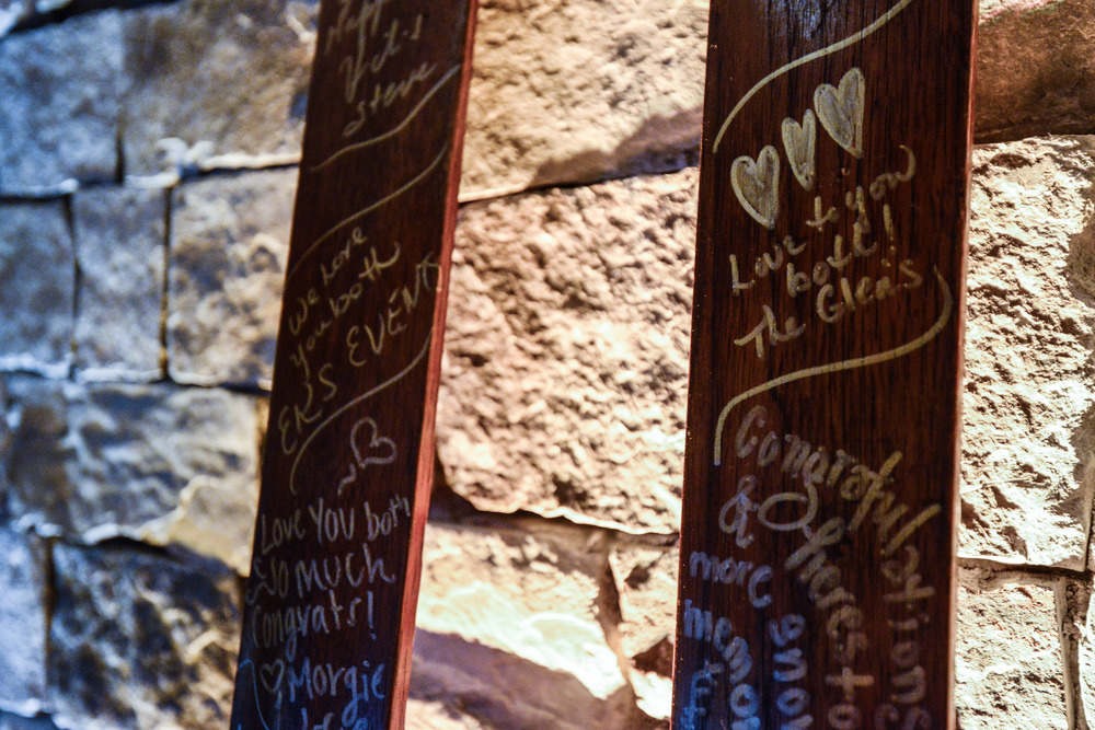 Vintage Skis Signed by Wedding Guests