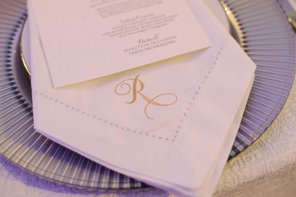 Monogrammed White Linen Napkin