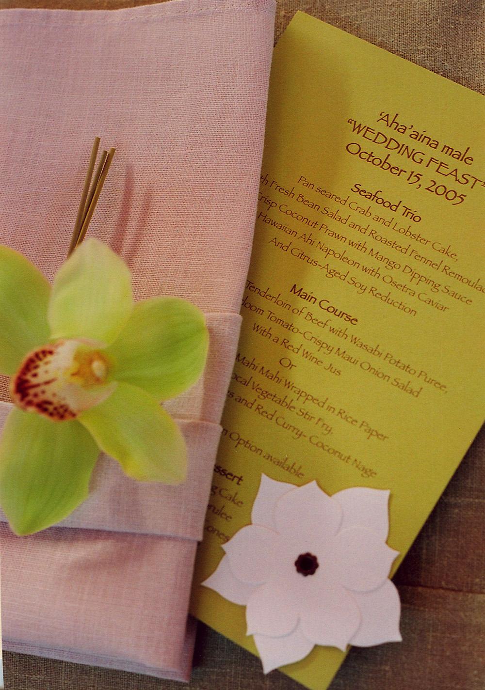 Hawaiian Themed Wedding Menu