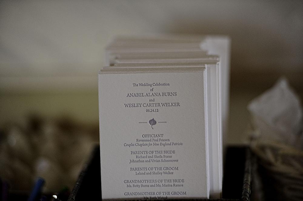 Purple & White Wedding Ceremony Program