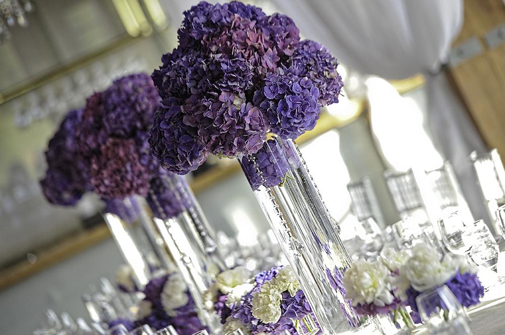 Purple & White Hydrangea Centerpieces