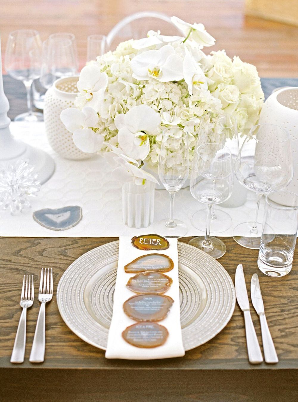 white table setting