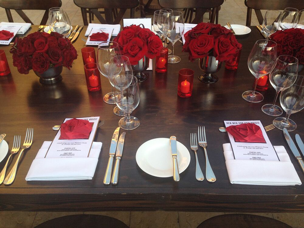 Red rose themed table setting