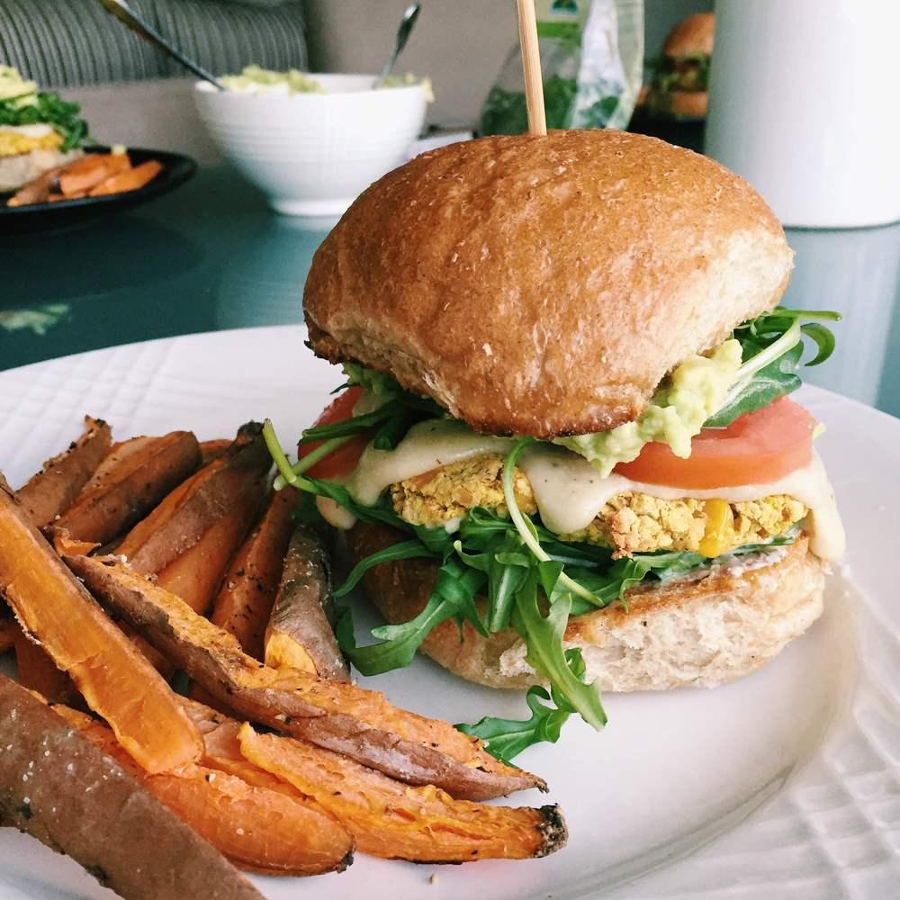 Chickpea & Corn Vegan Burgers | @diningwithdevyn