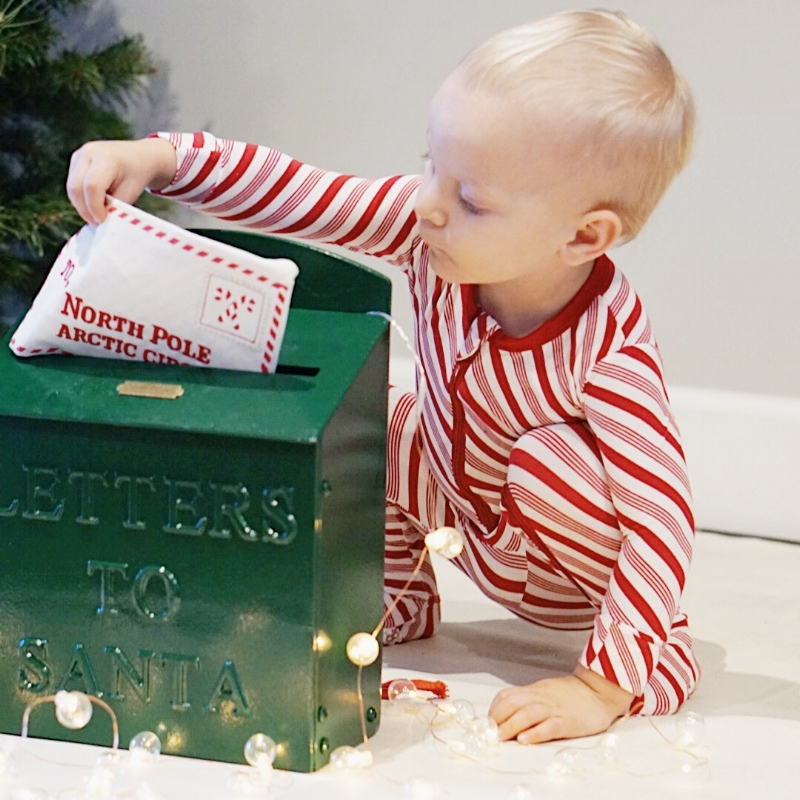 letters to Santa toddler in kickee pants Christmas gift guide