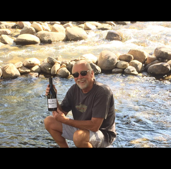 One of The Cult members with Nomad in the Kern River.