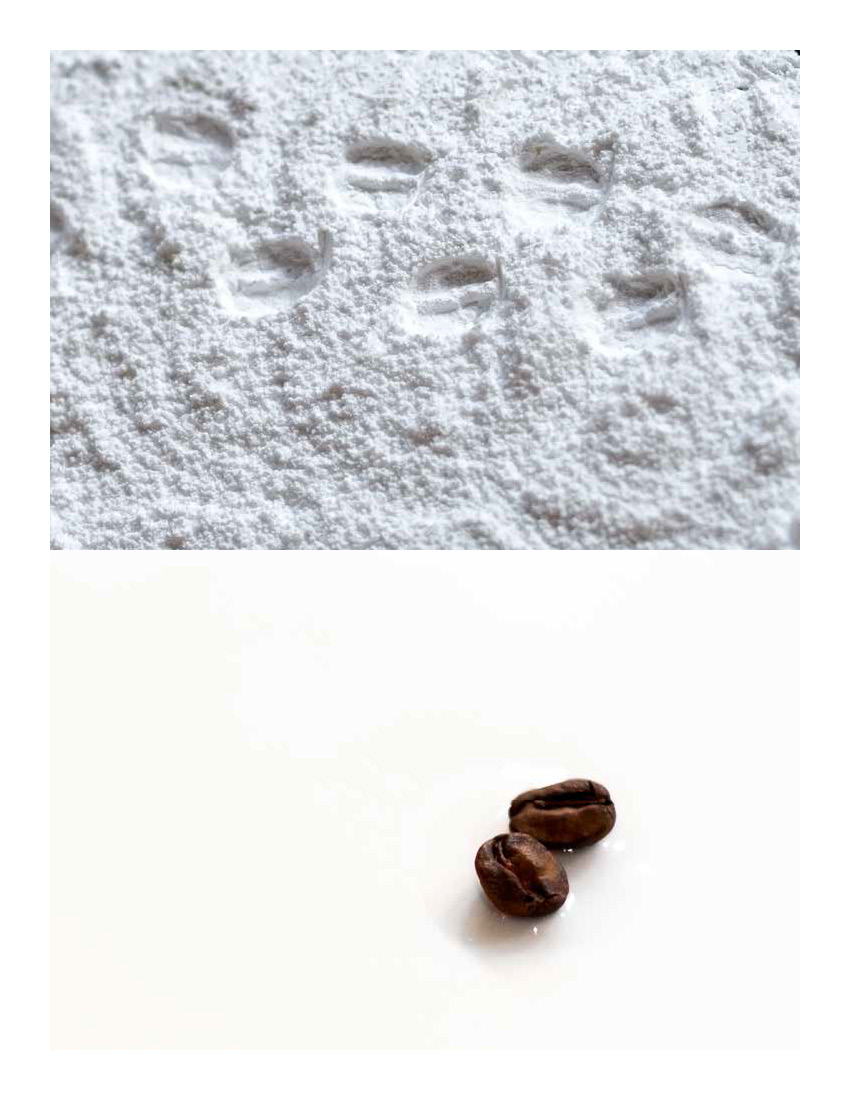 DRAFT 1: Greeting card with image of coffee beans as reindeer track.