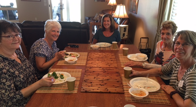 Shirley Waterhouse, Brandy Wismer, Connie Cline, Nancy Neal and Linda Diehnelt enjoying our great potluck lunch .