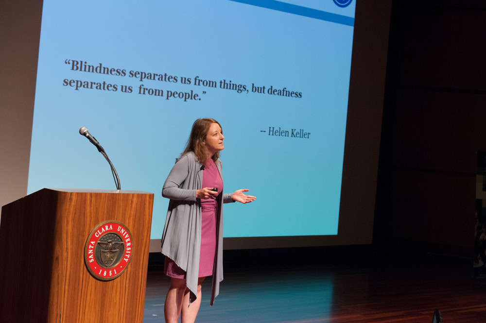 Audra Renyi makes a case to support hearing loss  at the 2014 investor showcase of the GSBI Accelerator.