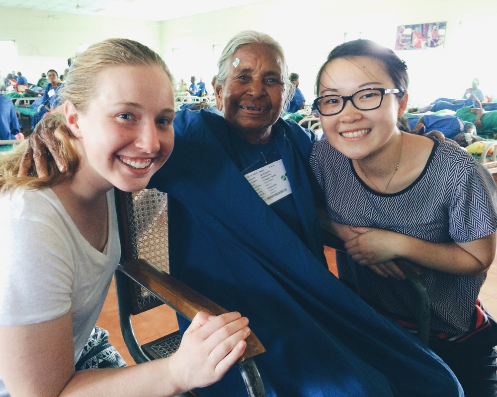 Maggie Dennis and Jana Lee befriend a Sankara Eye Care patient in India during the summer of 2015. Photo credit: Santa Clara University