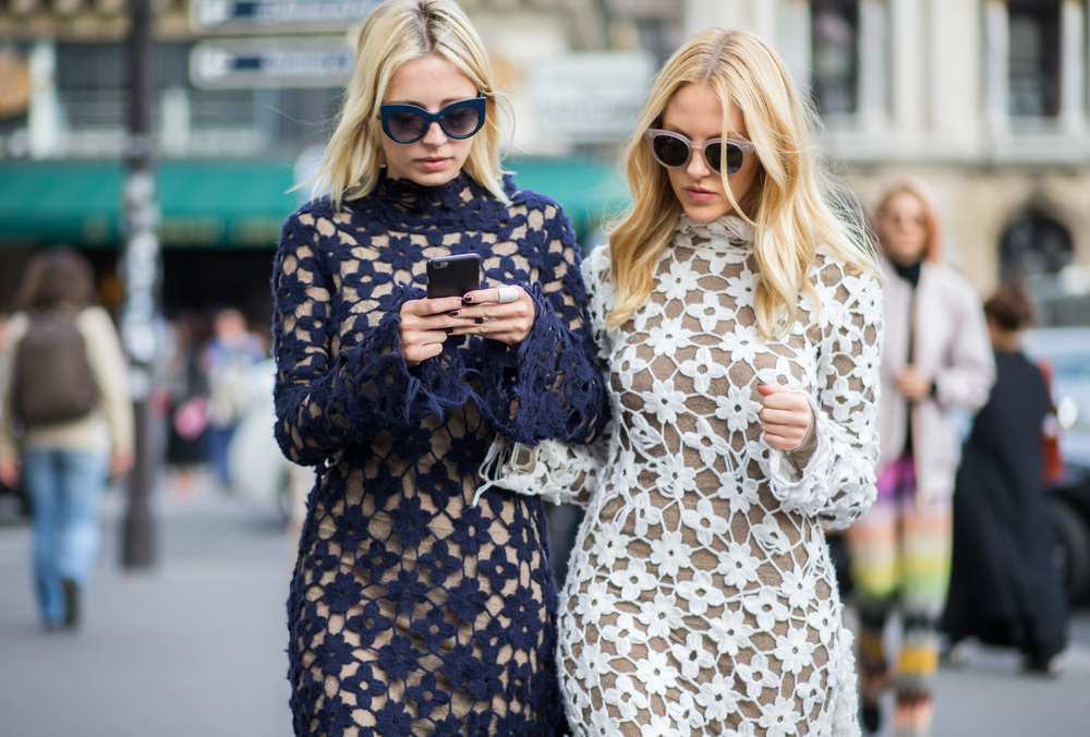 Caroline Vreeland and Shea Marie in Stella McCartney