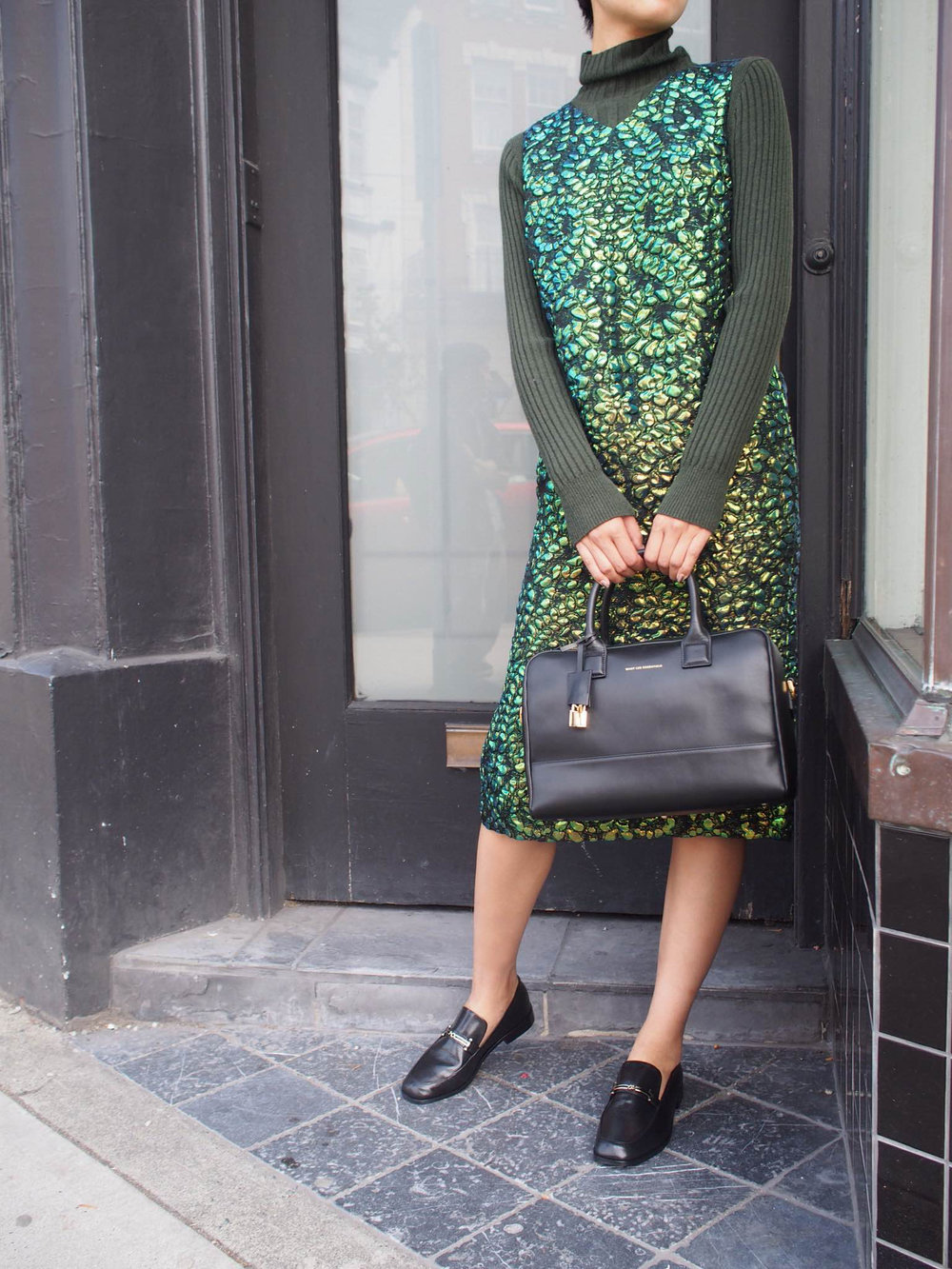 Maison Margiela dress and turtle-neck with Want Les Essentiels bag and NewbarK loafers.