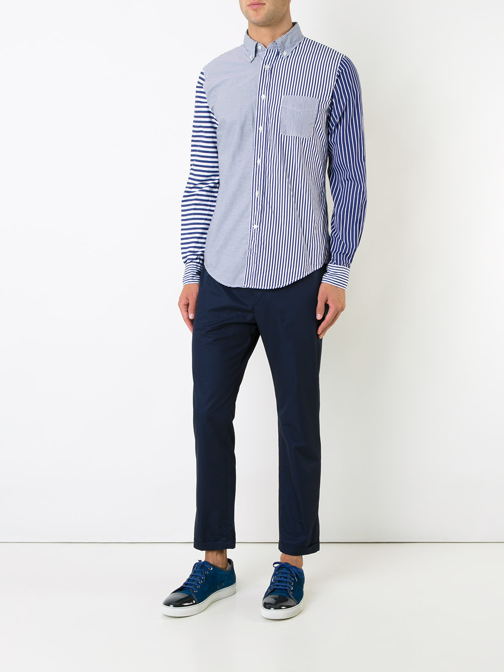 patchwork striped shirt