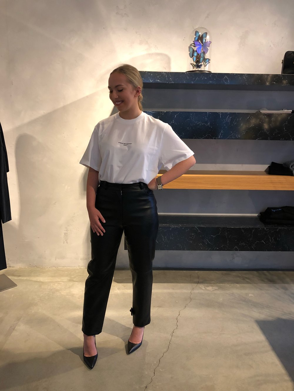 "Outfit #1 according to Claire. T-shirt and trousers by Stella McCartney, pictured with pumps by Paul Andrew - but equally slick with The Stella ""Loop"" sneaker."