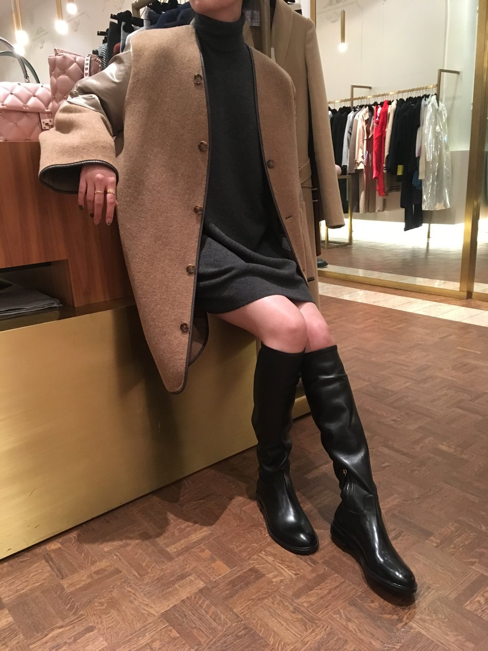 Outfit #2: Maison Margiela Coat and sweater dress with Valentino boots.