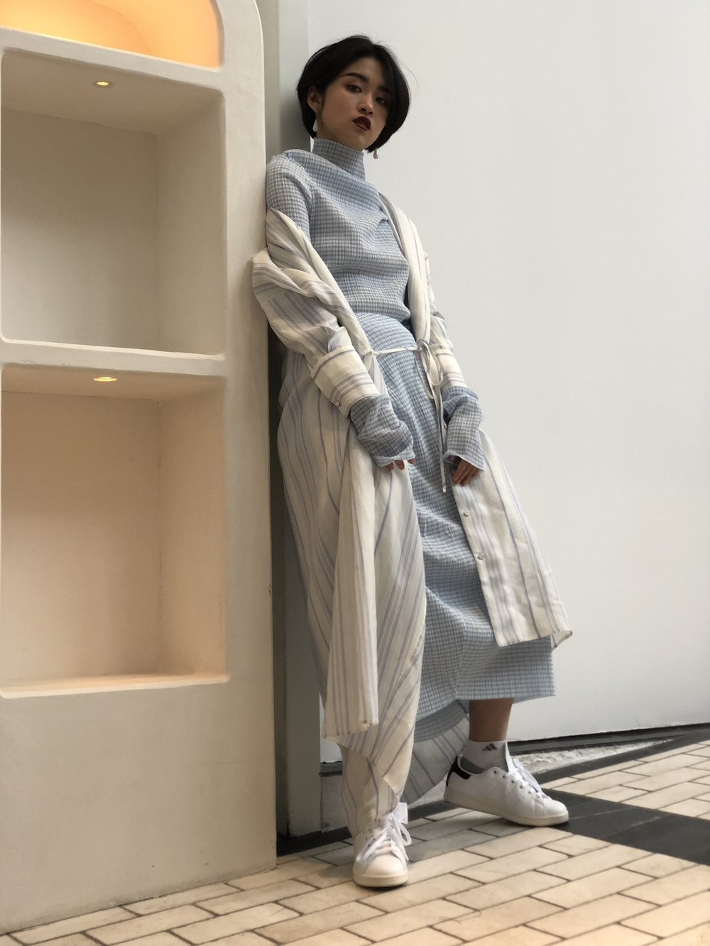 Outfit #2 is head to (nearly) toe Jil Sander.