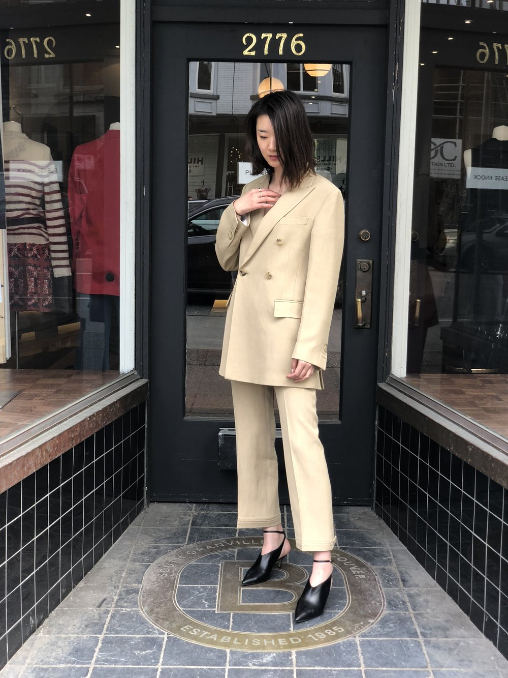 Outfit #2 is this buttery Golden Goose suit plus with Paul Andrew shoes.