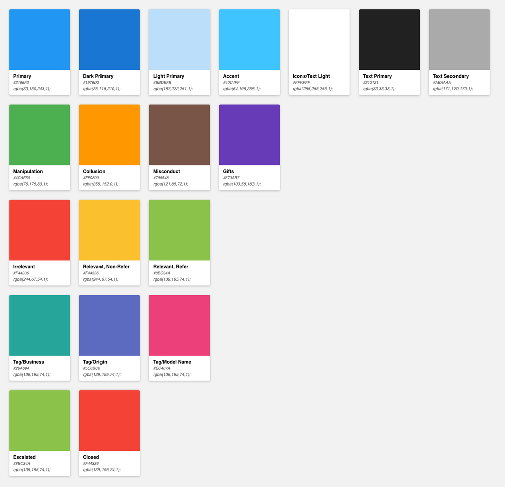 Color palette cards created using  Prism   Sketch  plugin