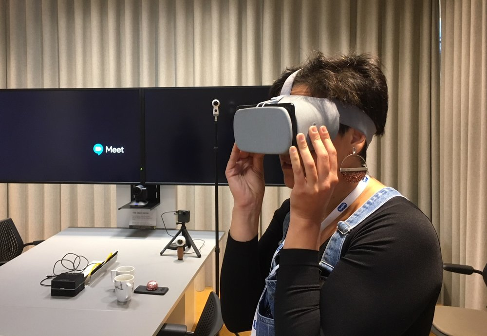 An AMMPE attendee dons a VR headset (the Google Daydream, of course, since the event was at Google's UK HQ) to watch Al Jazeera/Contrast VR's piece, Yemen's Skies of Terror. The piece was shot by local journalists and edited by Contrast's experienced team of VR journalists.