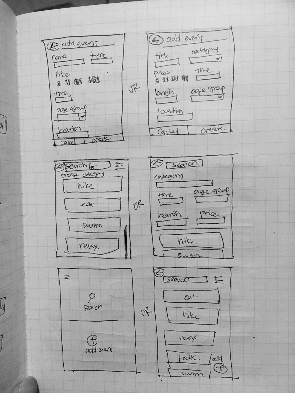 3. Detailing searching and adding an event wireframe