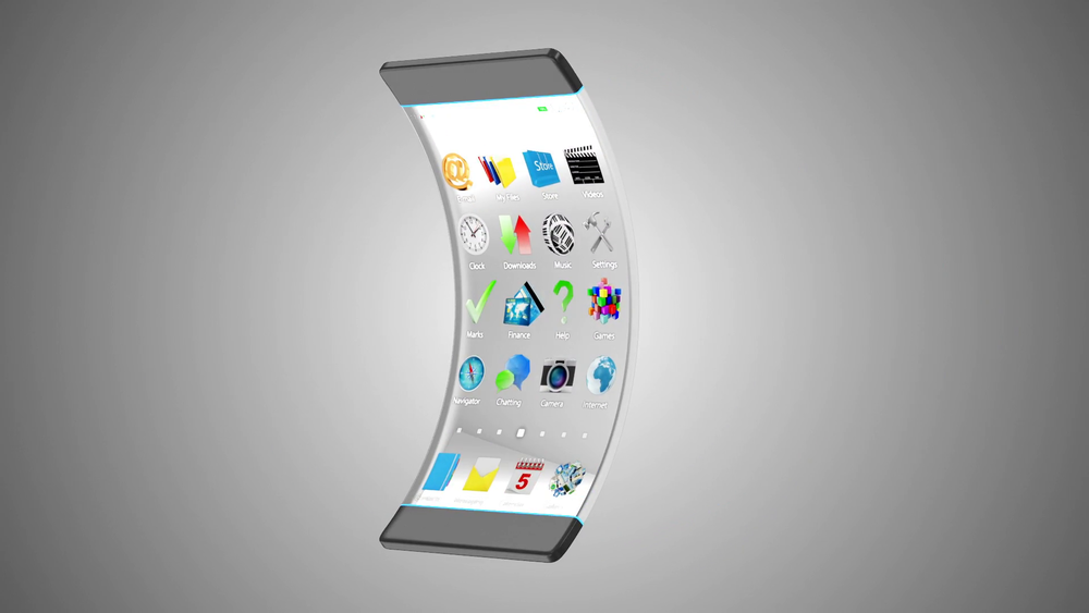 Bendable/Transparent Phones - Advanced Technology and Innovation Concept. Modern Touchscreen Smart Phone with Transparent Display and Flexible Structure. Seamless Looping HQ Animation with Alpha Channel.