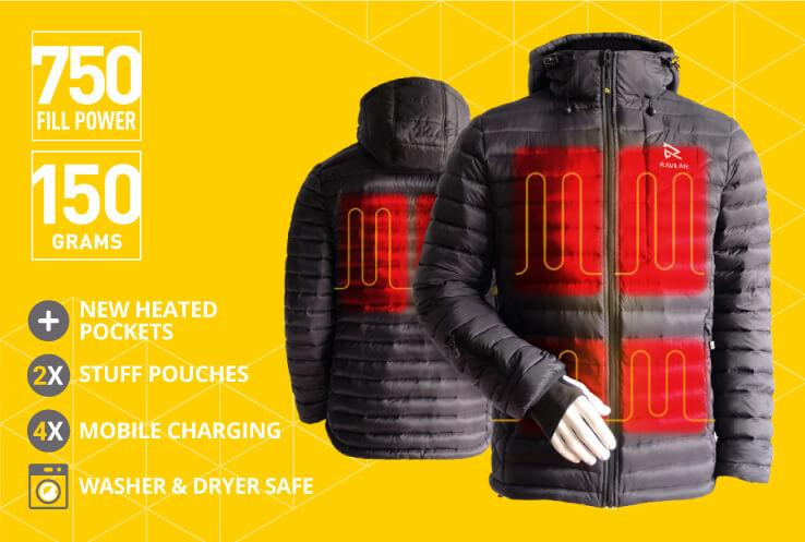 Ravean Heated Jacket - The heating system is set to warm your back, chest, and pockets. We make it convenient for you to heat where you need it the most.