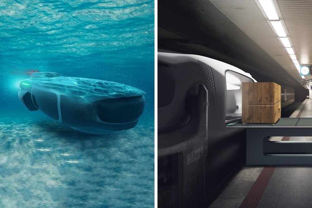 THE FEDEX OF THE FUTURE IS UNDERWATER      As the climate shifts and sea levels rise, so does the need for transportation that's been adapted for changing landscape and seascapes. Designed with this in mind, the Berliner Logistics submarine concept aims to assist in last-mile deliveries of cargo. After intercepting packages or shipping containers at sea, the automated system of submarines would then travel through rivers to destination cities everywhere. With specialized docking stations and loading ports, the entire system can work autonomously and in tandem with ships and other carrier services to streamline the delivery of goods.  Designer: Srijith Mohan