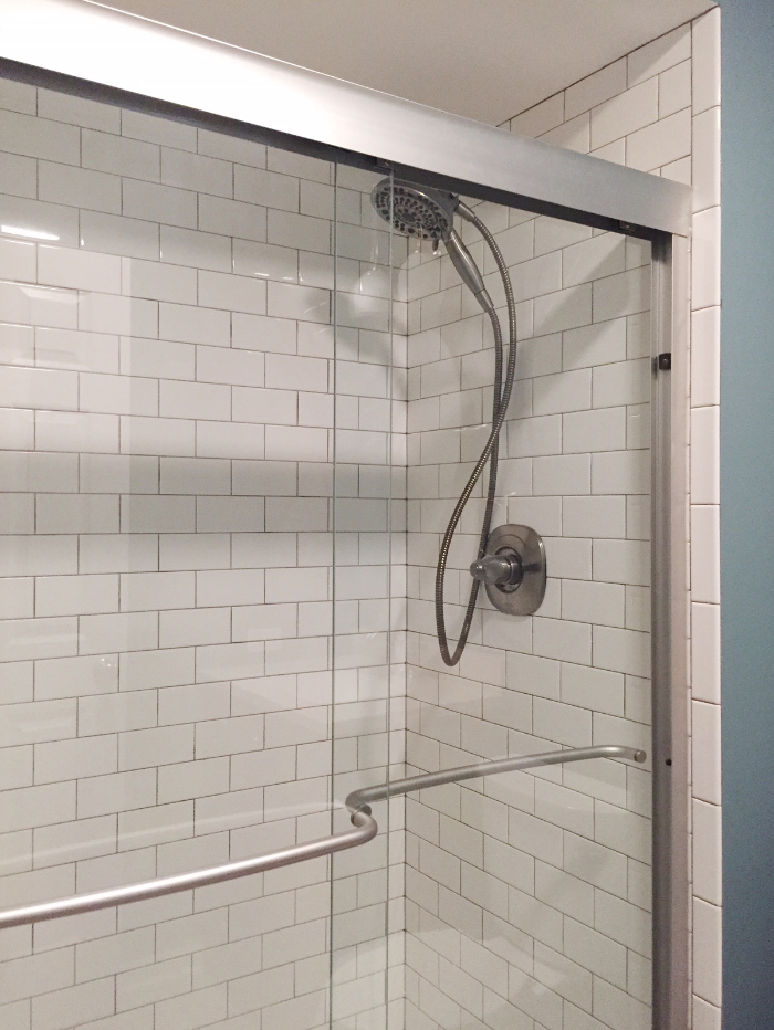Subway Tile with Light Grey Grout, Bathroom Remodel by Laura Design Company
