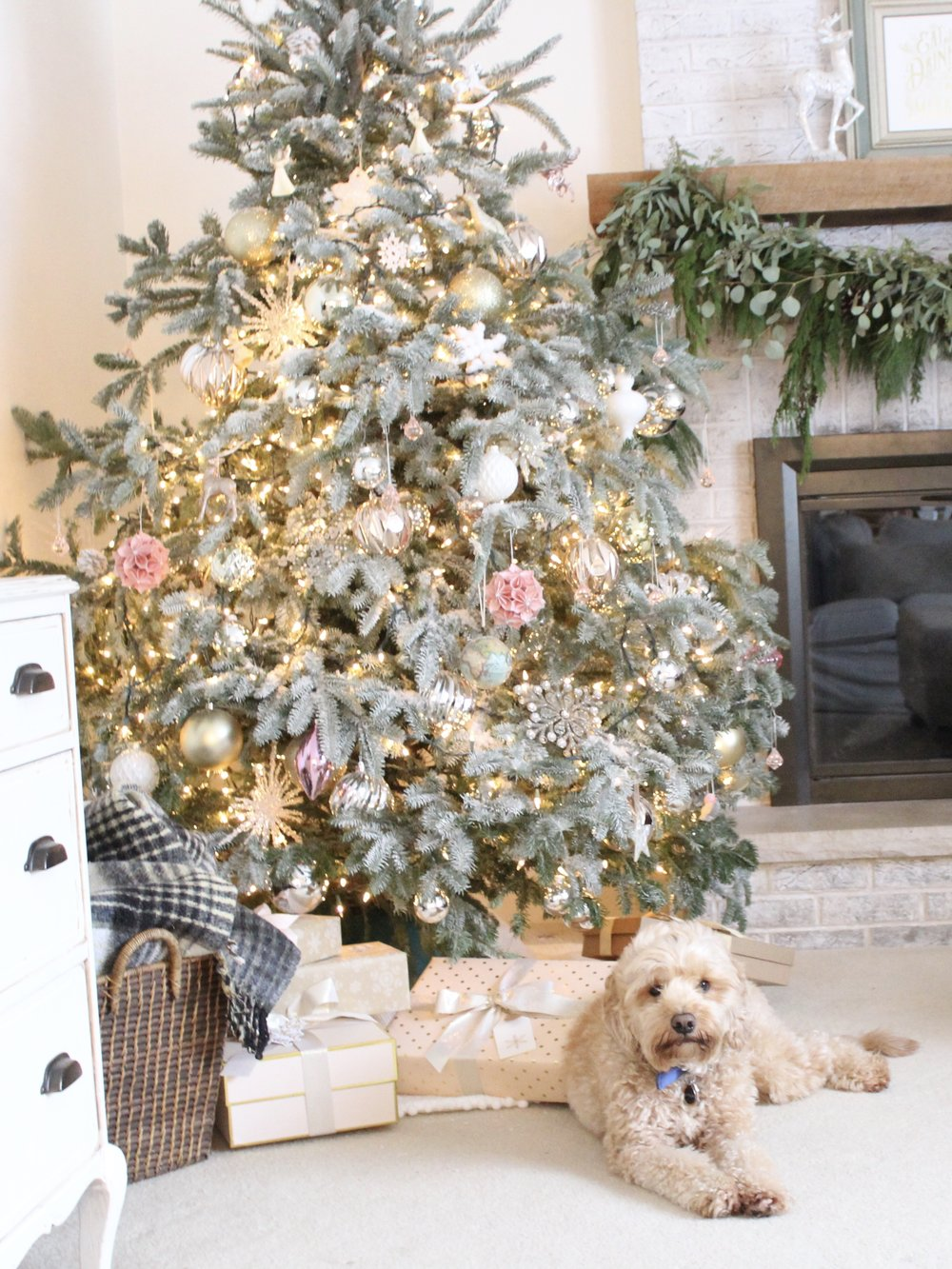 Flocked Christmas Tree & Blush Ornaments, Design Blogger House Tours, Laura Design Co.
