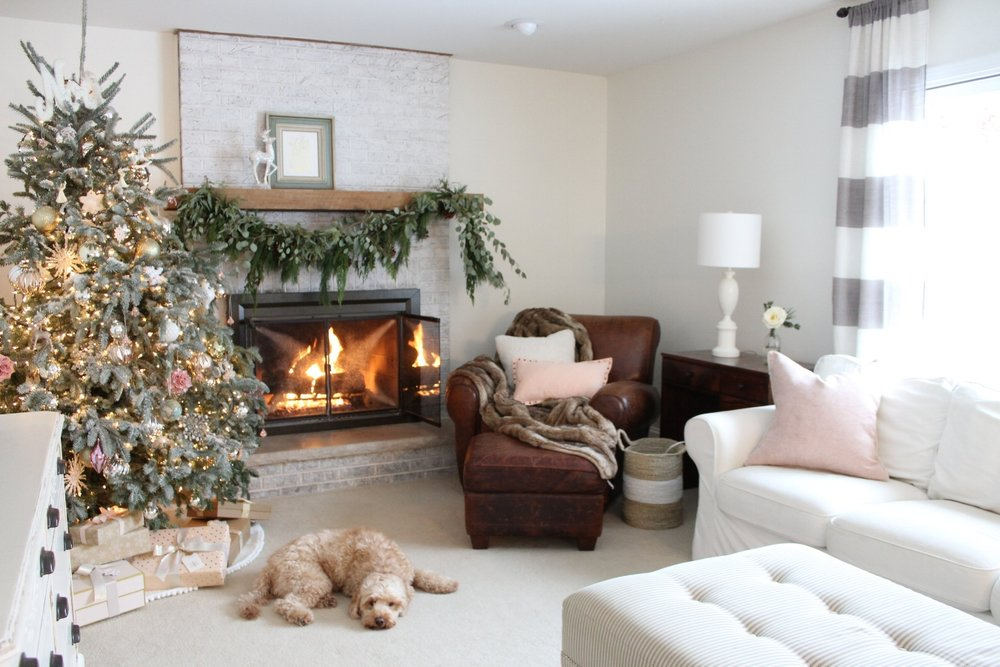 Flocked Christmas Tree, Blush Ornaments, Design Blogger House Tour, Laura Design Co.