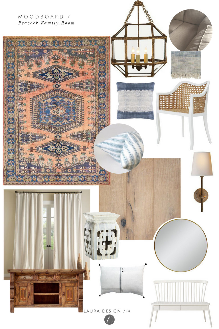 Boho Casual Modern Interior Design by Laura Design Company, One Room Challenge Family Room Remodel