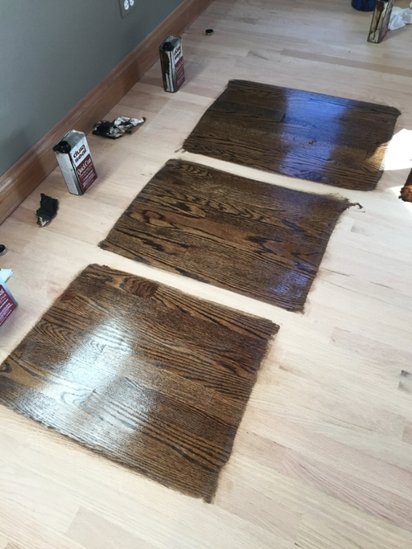 Choosing a wood stain.