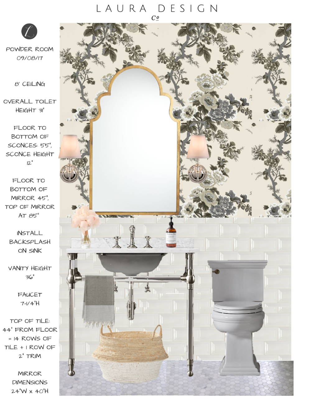 One Room Challenge Powder Room - Laura Design Co.