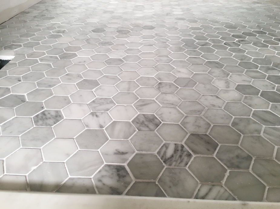"Marble Mosaic Hexagon 2"" Tile Floor & Decor - Interior Design by Laura Design Co."