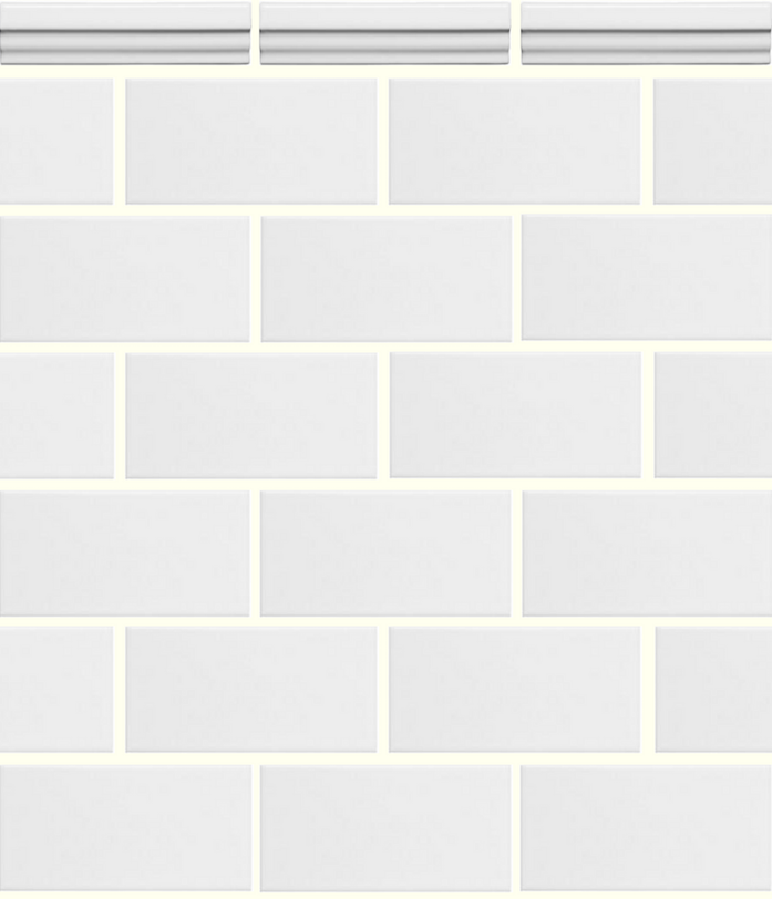 White subway tile with cornice top- Laura Design Co.