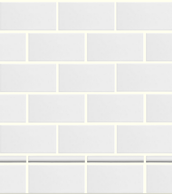 Use pencil tile and standard white subway tile to create budget-friendly skirting.