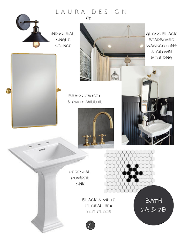 Classic Chicago Black & White Bathroom Design- Laura Design Co.