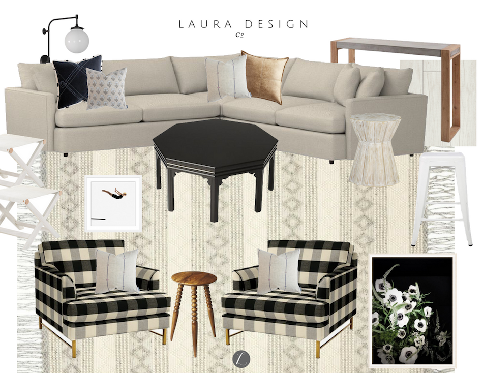 Family-friendly Basement Lounge Space- Laura Design Co.