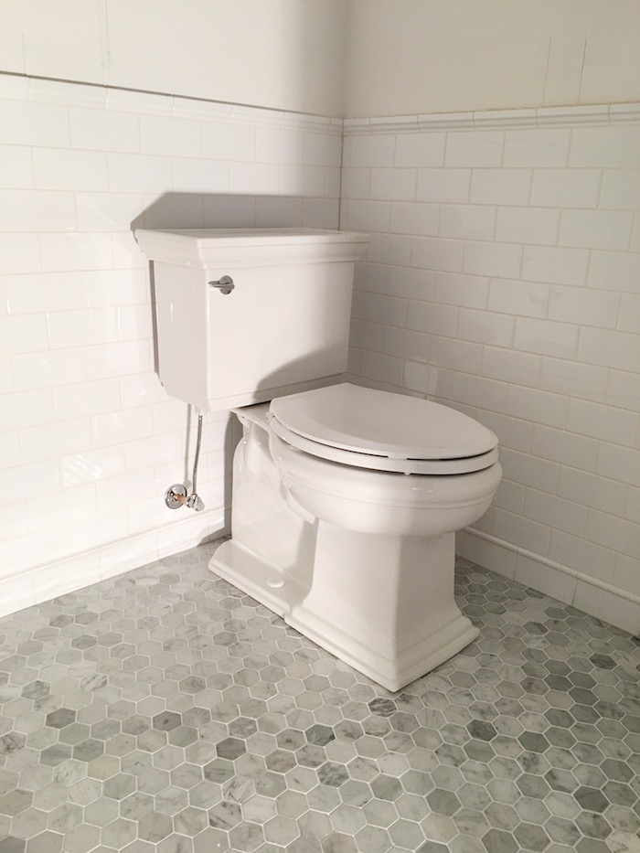 One Room Challenge- Powder Room New Build by Laura Design Co. - Kohler Memoirs Toilet