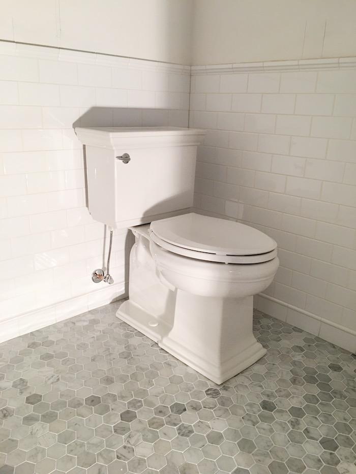 One Room Challenge- Powder Room New Build by Laura Design Co. - Kohler Memoirs Toilet